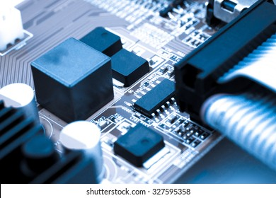Detail of electronic board, Macro with extremely shallow dof