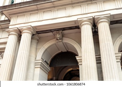 Detail of the Elizabeth Street entrance of the Melbourne, Australia, GPO building, and its Tuscan columns.