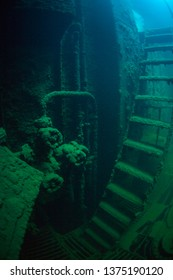 Detail of the engine room within the wreck of the Chuyo Maru, a Japanese ship that was sunk during World War II in the Republic of Palau.