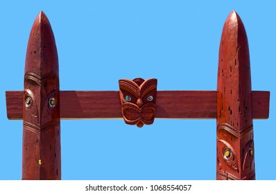 Detail of the Entrance gate to the Waitangi Regional Park, New Zealand.