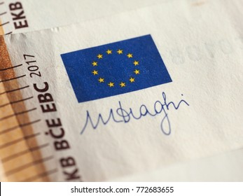 Detail of European Union flag and ECB governor signature on 50 Euro banknote money (EUR), currency of European Union