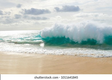 Detail of exotic waves before the storm in Cape Verde, Africa