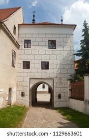detail of exterior of Trebic monastery, UNESCO heritage site, Czech Republic