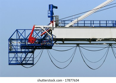 Detail of the extreme of a large dockside crane.