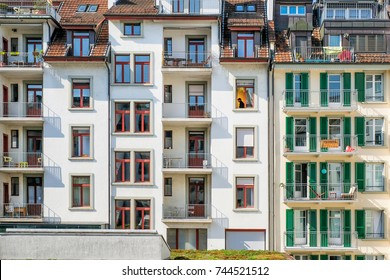 Detail of the facade of apartment building