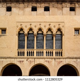 Detail of the facade of the Castello di Porto Colleoni in Thiene, in the province of Vicenza. May 27, 2018 Thiene, Vicenza - Italy