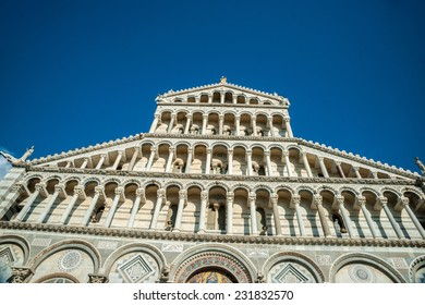 Detail of the facade of Cathedral in Pisa, Italy