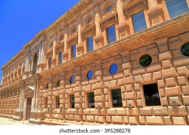 Detail of the facade of Charles V Palace in Granada, Andalusia, Spain