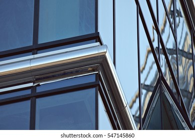 Detail of facade of corporate glass highrise
