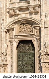 Detail of the facade of the Duomo di Milano (Milan Cathedral 1418-1577). Church monument symbol of Lombardy, Italy, Europe