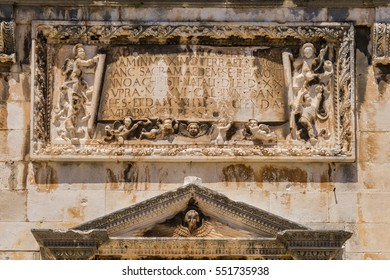 Detail of the Facade of the Franciscan Monastery in Dubrovnik, Croatia