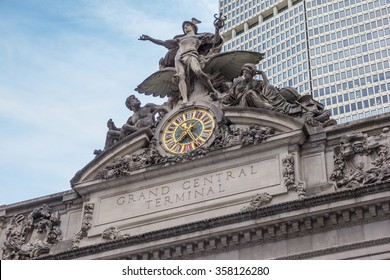 Detail of the facade of Grand Central Terminal in New York City, USA
