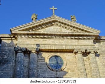 Detail of the facade of the 'Igrexa das Animas' church, in the city of Santiago de Compostela Santiago de Compostela, Galicia, Spain 11/16/2018