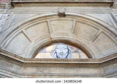 Detail of the facade of the Italian Church in Nicolae Balcescu Boulevard Bucharest, Romania.