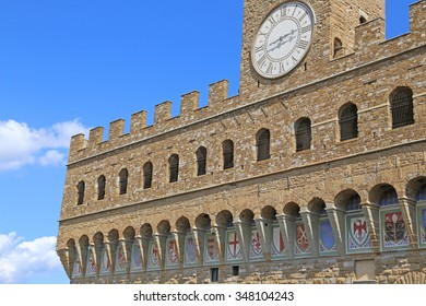 Detail of Facade of Old Palace called Palazzo Vecchio in Florence Italy