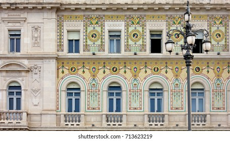 Detail of the facade of the Palazzo del Governo in piazza Unità in Trieste, Italy, home of the Prefecture of the city