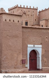 Detail of a facade of the Taourirt kasbah, in the city of Ouarzazate on a cloudy day, south of Morocco