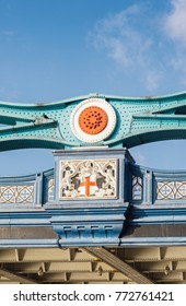 Detail of facade of  Tower Bridge, London, UK in sunny day