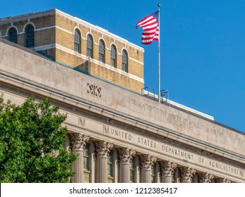 Detail of the facade at the United States Department of Agriculture, side on the 14th St SW, USDA Foreign Agricultural Service.