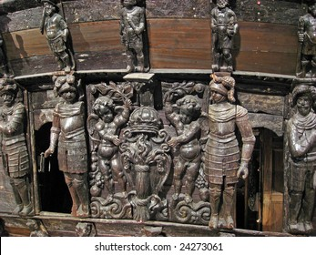 Detail of the famous ancient Vasa vessel  in Stockholm, Sweden