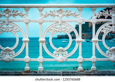 Detail of the famous fence at La Concha beach in San Sebastian or donostia