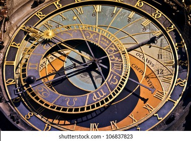 Detail of famous old medieval astronomical clock in Prague, Czech Republic