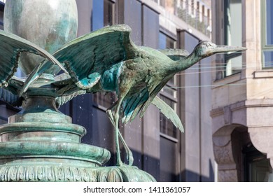 Detail of famous stork fountain in Copenhagen