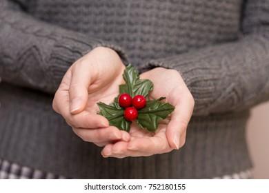 Detail of female hands holding a mistletoe