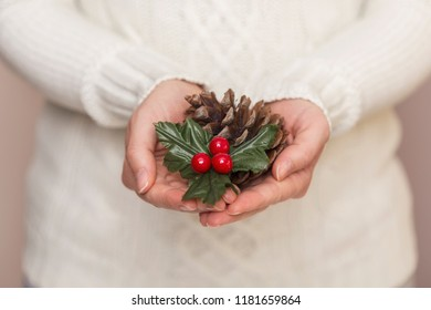 Detail of female hands holding a pine cone and a mistletoe. Selective focus on the mistletoe
