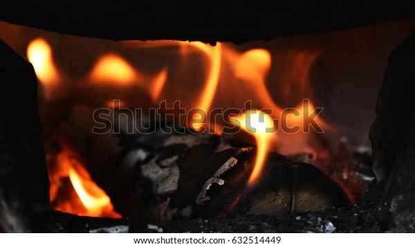 Detail flame of fire in stove for background