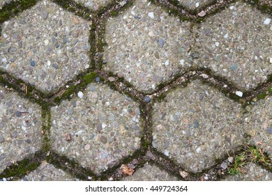 Detail of floor covering from hexagonal paving stones