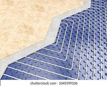 detail of floor heater 3d rendering image