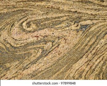 Detail of flow textures of migmatite rock