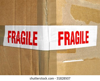 Detail of a fragile corrugated cardboard packet