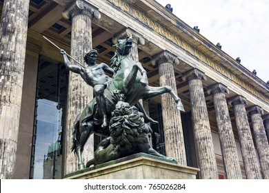 Detail of front of the Altes Museum and  a statue of a horseman, Berlin, Germany