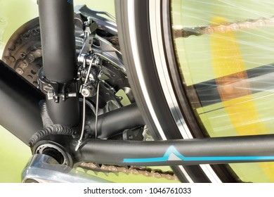 Detail Of Front Derailleur And Back Wheel