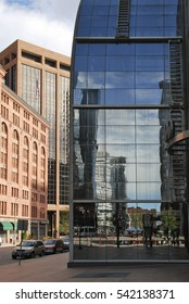 Detail of futuristic skyscrapers in Denver in USA