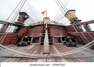 Detail of Galeone Neptune ship, tourist attraction in Genoa, Italy