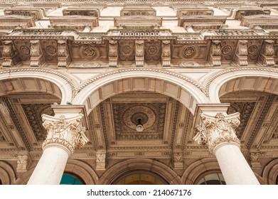 Detail of Galleria Vittorio Emanuele II in Milan Italy