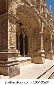 Detail of gallery in Jeronimos monastery, Belem. Lisbon, Portugal