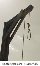 detail of a gallows to execute the sentence to the condemned. Punishment method in the wild west