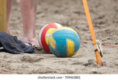 Detail of a game of beach volleybal, the ball