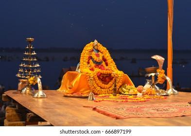 Detail of Gangotri Seva Samiti at Aarti Ceremony in The Ganges River in Varanasi, India