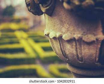 Detail Of A Garden Ornament And Maze At A Stately Home Or Mansion In The UK With Copy Space