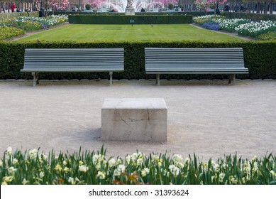 Detail of the gardens of the Palais Royal in Paris in the spring