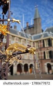 Detail (gargoyle) of the neo-gothic fountain in the Ridderzaal (Knight's Hall), which forms the center of the Binnenhof (13 century gothic castle), The Hague, Netherlands
