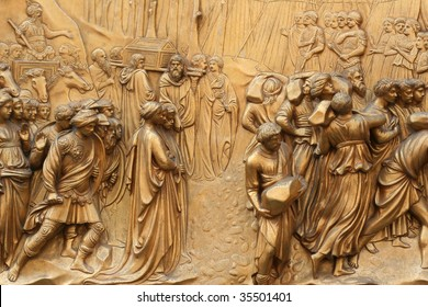 Detail, Gates of Paradise, Baptistery of San Giovanni, Florence, Italy
