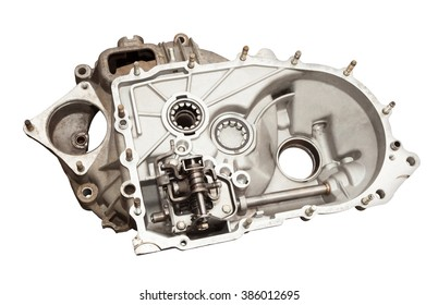 Detail gearbox car. Isolated on white background with clipping path