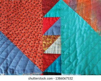 Detail of Geometric Southwest Design Hand Quilted Patchwork Quilt