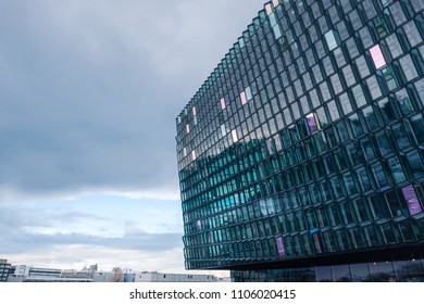 Detail of the glass facade of the Harpa Concert Hall in Reykjavik, Iceland.
